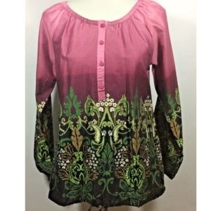 Art And Soul Womens Paisley Peasants Blouse Size S